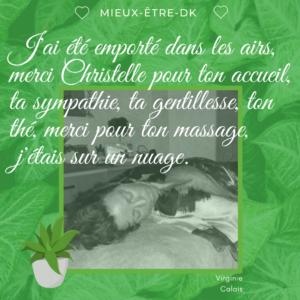 mieux-être-dk-carte cadeau- massage-réflexologie plantaire-zen-lacher-prise décontraction relaxation témoignage